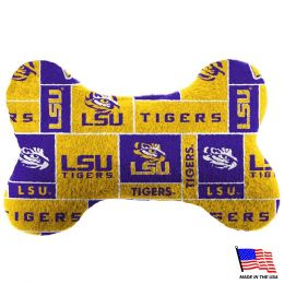 LSU Tigers Plush Bone Toy (Option: LargeNavy Blue Trim)