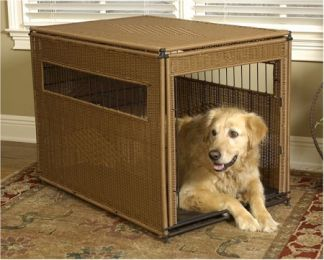 Wicker Dog Crate (Options: Large/Dark Brown)