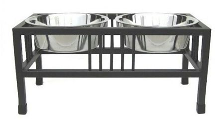 Baron Double Raised Dog Bowl (Options: Small/Black)