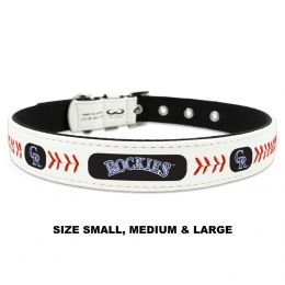 Colorado Rockies Classic Leather Baseball Collar (Option: Small)