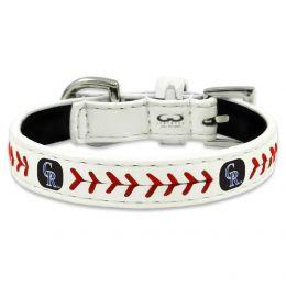 Colorado Rockies Classic Leather Baseball Collar (Option: Toy)